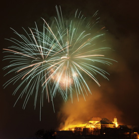 Novoroční ohňostroj na Špilberku