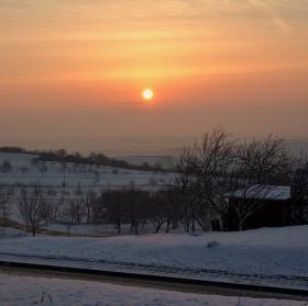 Východ slunce nad Kyjovskem