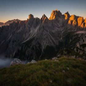 Východ slunce v Dolomitech