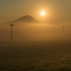 Dráty v ranní mlze