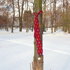 Odložená kravata v parku