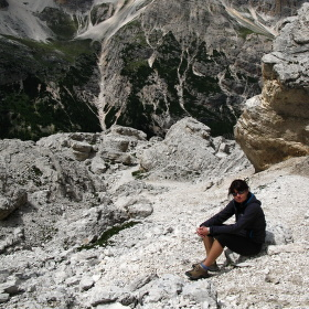 Výstup v Dolomitech
