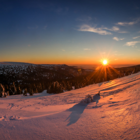 Západ slunce nad Jeseníky