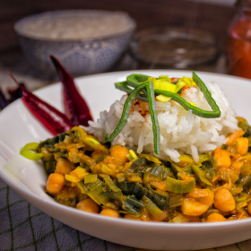 Cizrna na paprice s jasmínovou rýží
