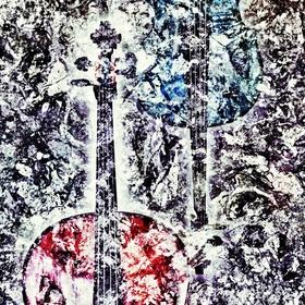 Kompozice v černé,bílé,červené a modré IV