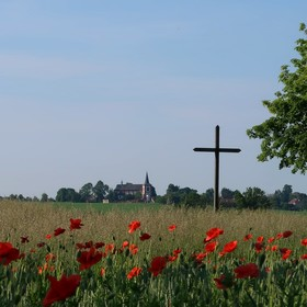V polích u kříže