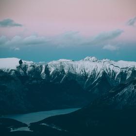 Západ z sulphur mountain, Banff, Kanada