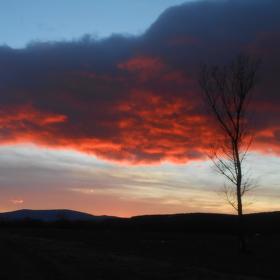 zimný západ slnka