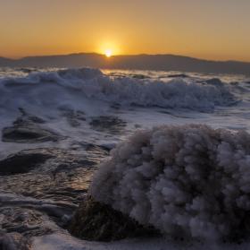 Východ slunce nad Mrtvým mořem
