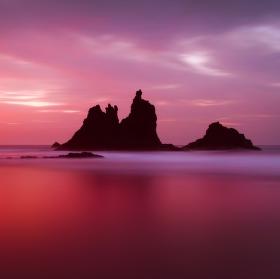 Skály na Tenerife při západu slunce