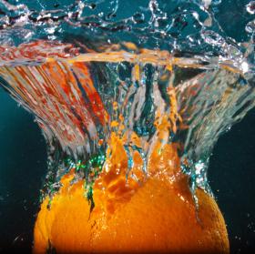 Orange skyfall to water