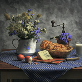 Modrobílá snídaně