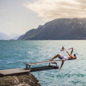 Ženevské jezero z Lausanne