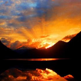 Západ slunce v Norsku