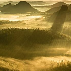Mlhy v Saském Švýcarsku