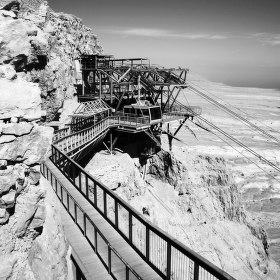 Lanovka na pevnost Masada v Izraeli