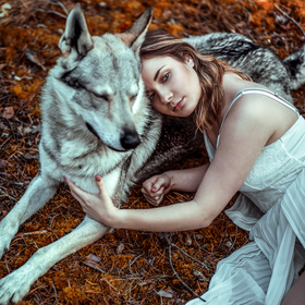 The girl with the wolf
