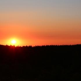 Západ slunce nad Krušnými horami