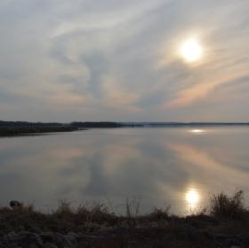 Západ slunce nad Novými Mlýny