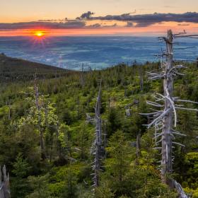 Západ slunce ze Smědavské hory