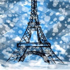 Sníh u Eiffelovky