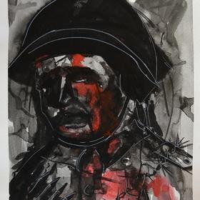 vojak. (čierny,červený tuš,biela fixa)