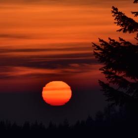 Zimní západ slunce