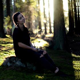 V lese na houbách
