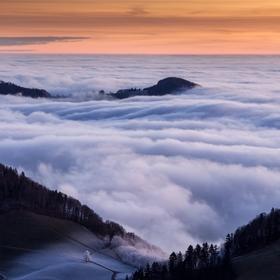 Misty morning in Jura mountains