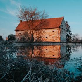 Zlatá hodinka u rybníka