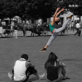 Skok na Staroměstském náměstí