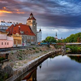 Evangelický kostel a probíhající rozšíření nábřeží v Olomouci