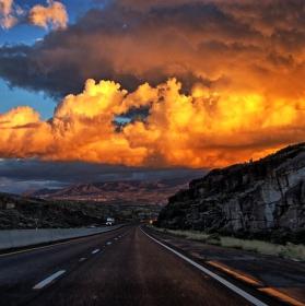 Západ slunce nad Nevadou USA