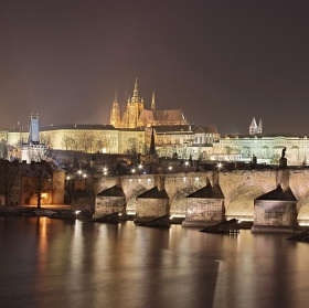 Noční mrazivá Praha