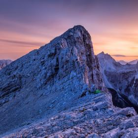 Julské Alpy po západu
