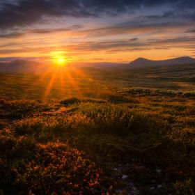 Západ slunce v NP Rondane