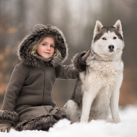 A girl and her Husky