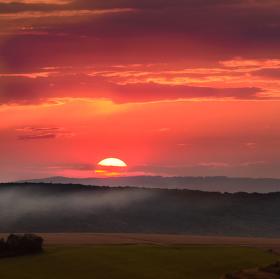 Západ slunce za Uherským Brodem