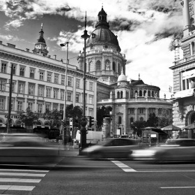 Budapest street in motion
