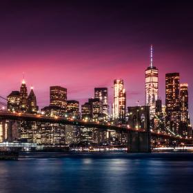 Brooklynský most po západu Slunce
