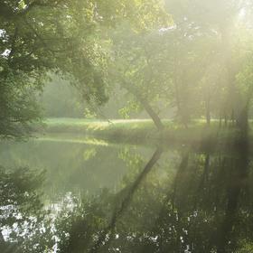 Sluneční paprsky nad řekou