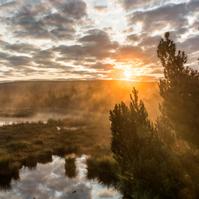 Východ slunce u jezera na Chalupské slati