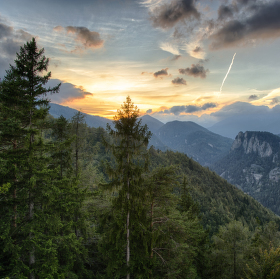 Západ slunce na Semmeringu