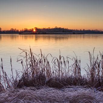 Mrazivé svítání na Chomoutovském jezeře