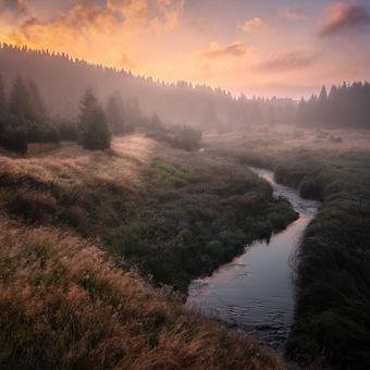 Podzimní ráno v Krušných horách