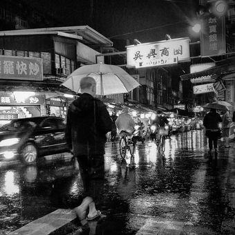 večer deštěm