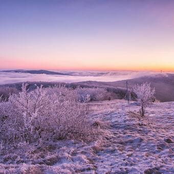 Dreamy sunrise on Velká Javořina