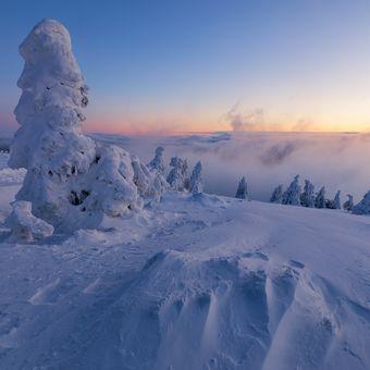 Zimní ráno před východem