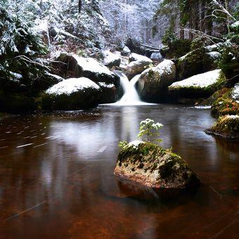První sníh na Černé Desné