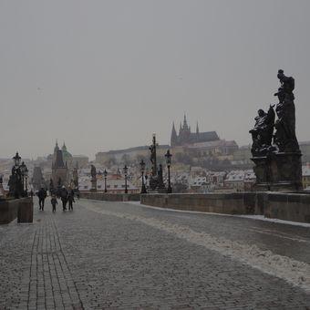 nečas a koronavirus na Karlově mostě
